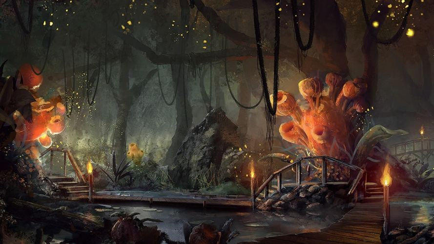 Landscapes trees forest bridges fantasy art artwork wallpaper