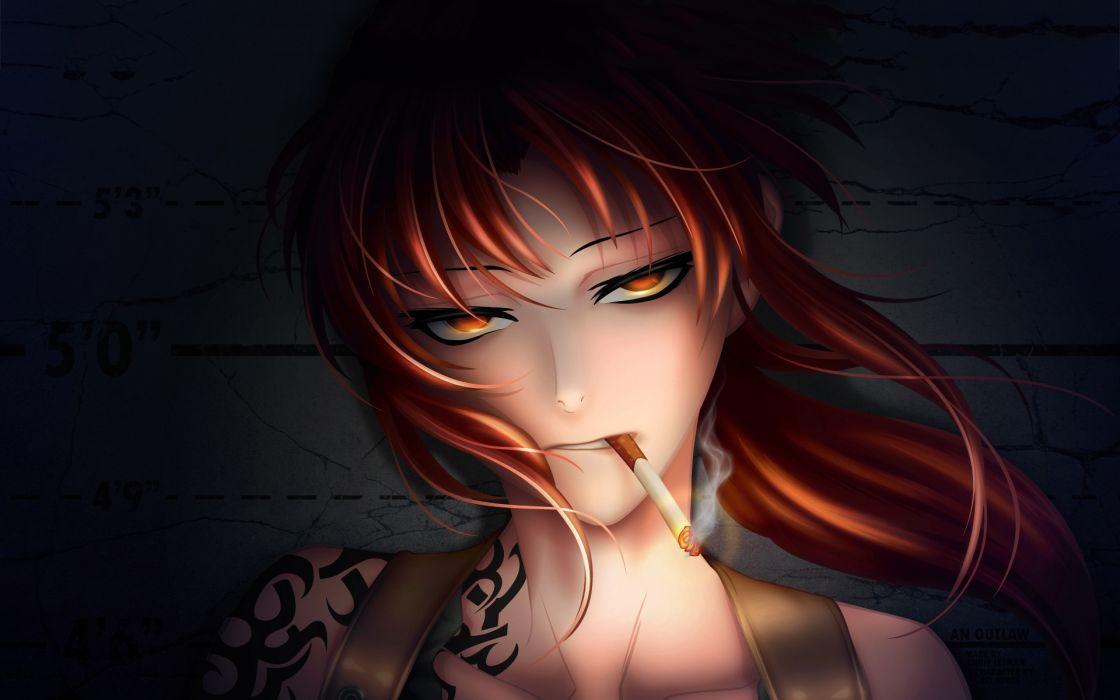 Revy BlackLagoon Cigarate Anime Tatoo wallpaper