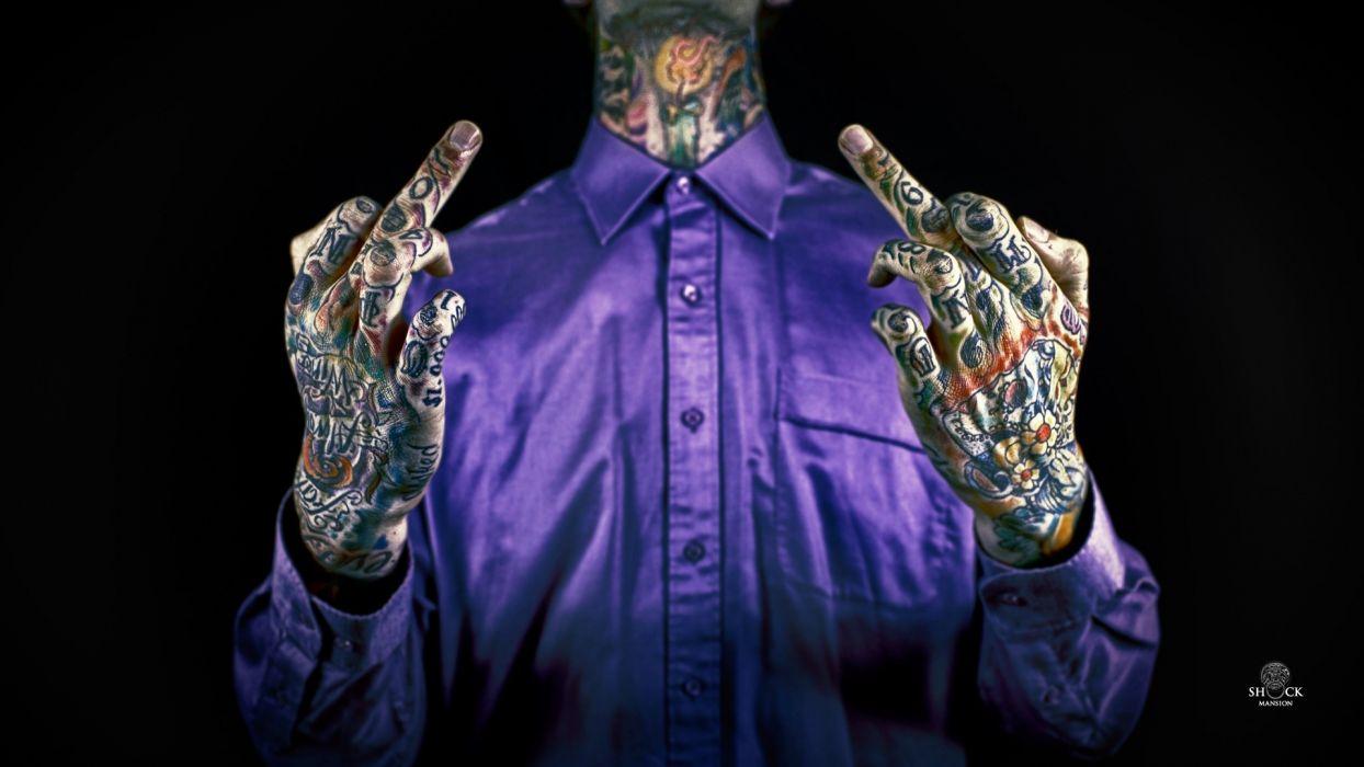 Style Tattoo Blue Shirt Hand Fingers Fuck You Wallpaper
