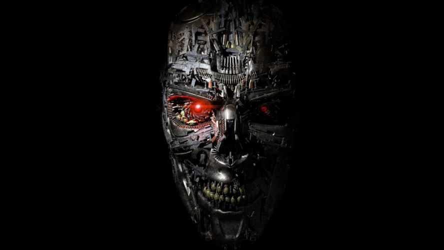 Style Terminator Genisys robot cyborg face red-eyes science-fiction metal teeth gears steel art skull machine-T1000 movies wallpaper