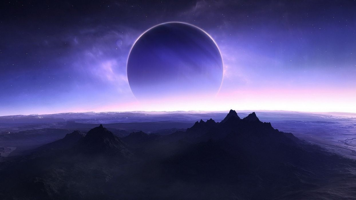 Landscape Mountain Digital Art Night Sky Planet Earth Stars Space Art Sunrise Moon Moonlight Skyline Eclipses Clouds Dawn Screenshots Atmosphere Phenomena Atmosphere of the world outside the world astronomical objects wallpaper