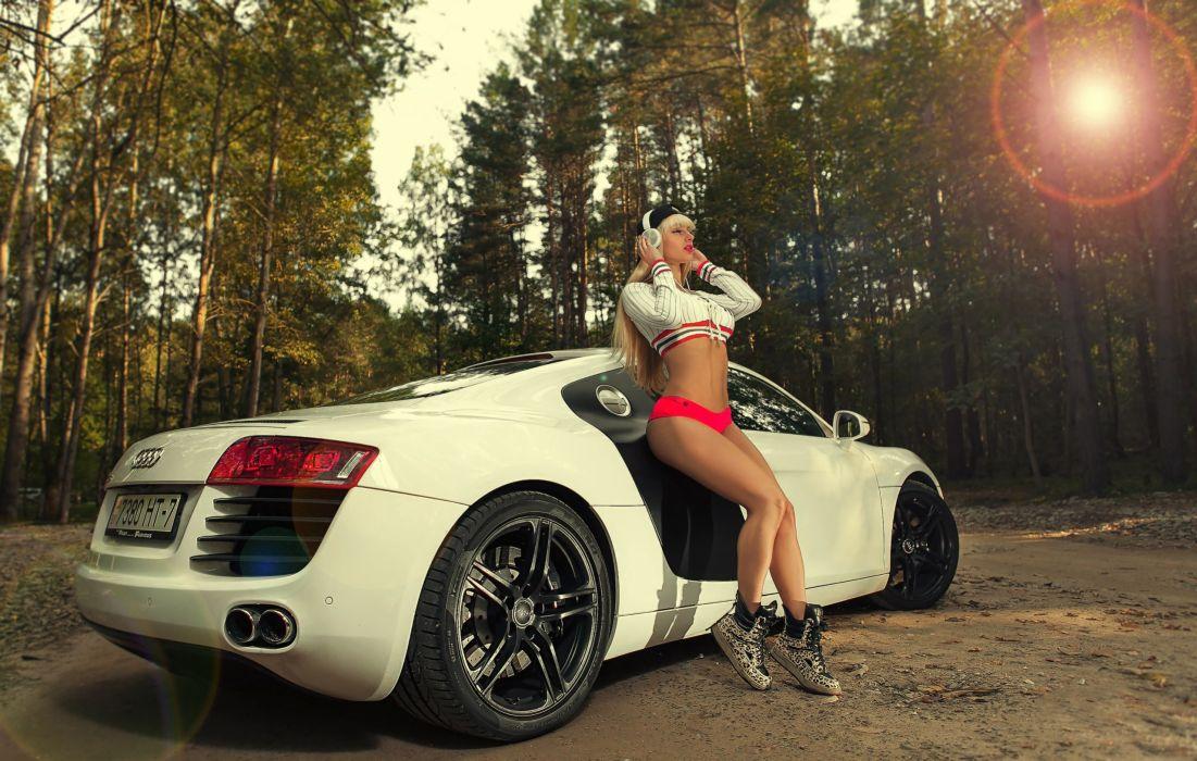 Sensuality sensual sexy girl woman model car Maria-Vasilieva blonde legs belly tummy navel tanned trees headphones sneakers shorts Audi-R8 wallpaper