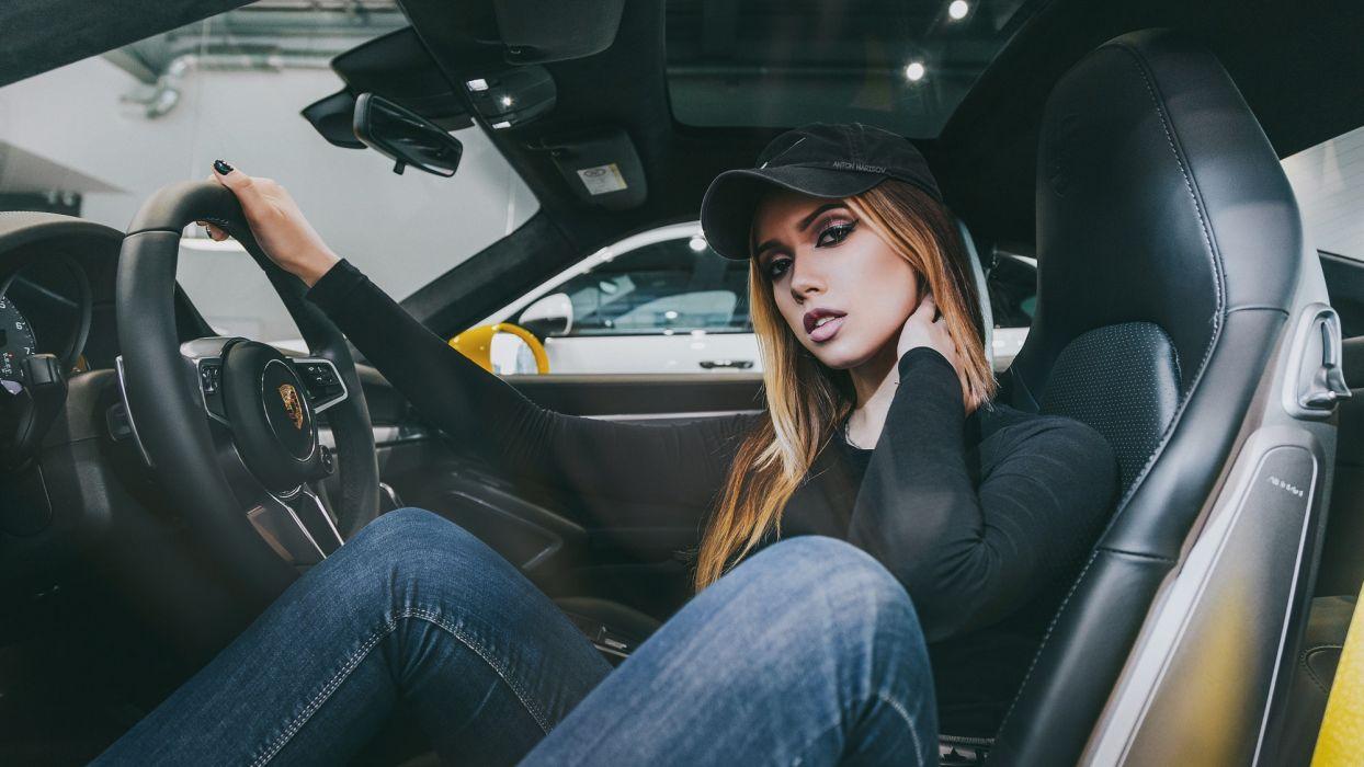 Sensuality sensual sexy girl woman model car Maria-Vasilieva blonde legs cap pants jeans sitting Porsche wallpaper