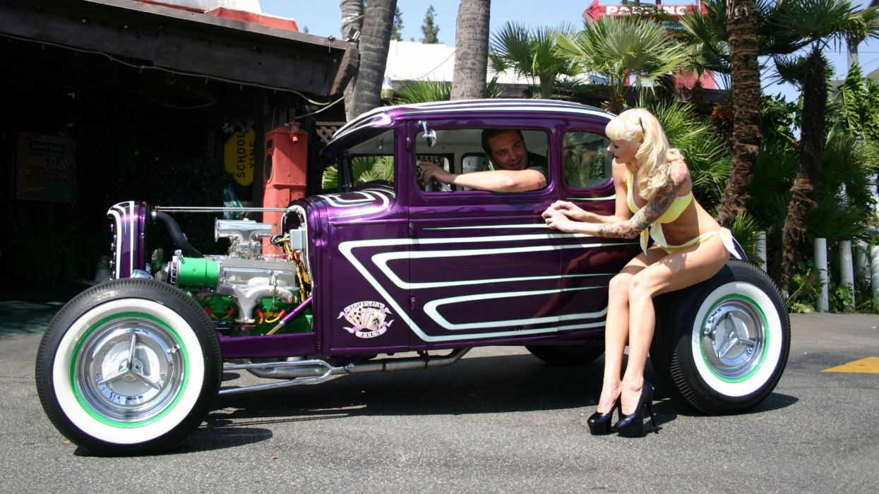 Sensuality sensual sexy girl woman model car tattoo legs blonde pinup sitting tire puple wallpaper