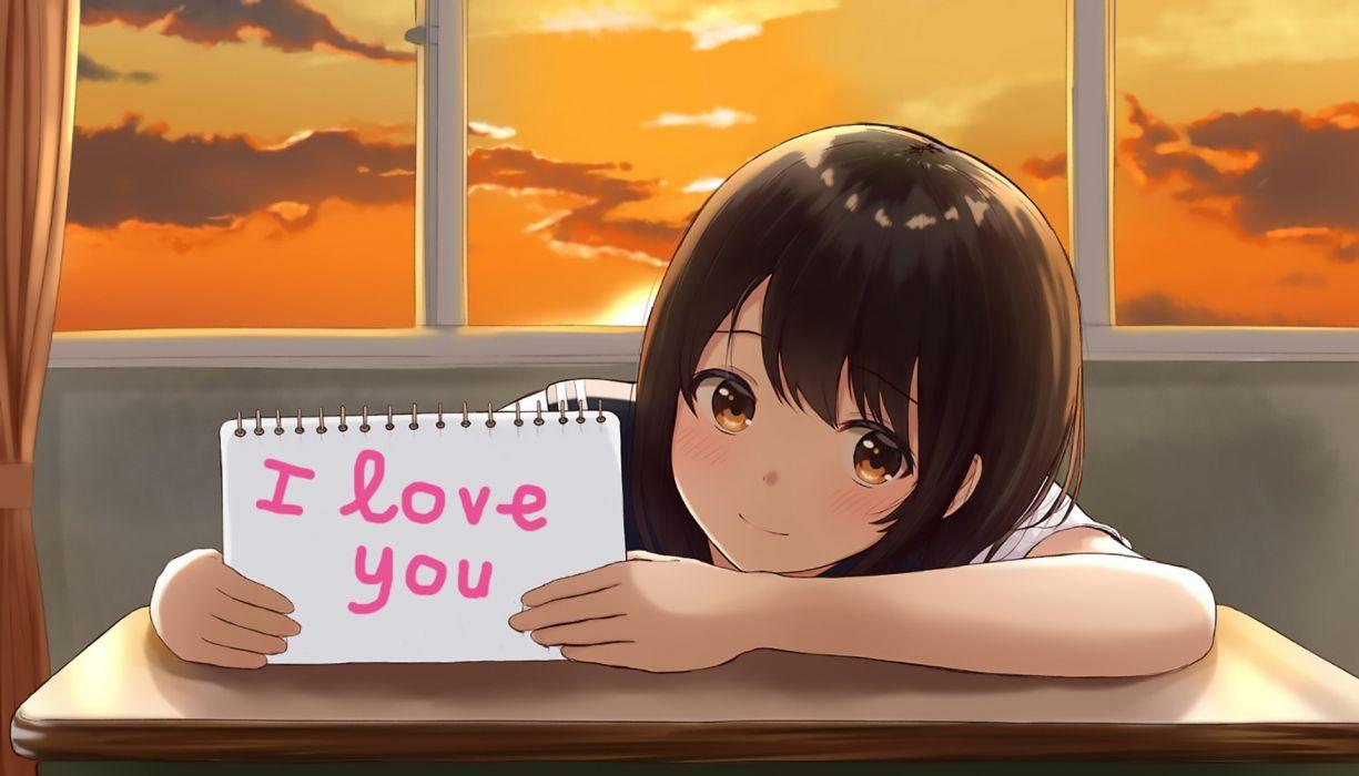 Anime girl cute ı love you sunset sky wallpaper