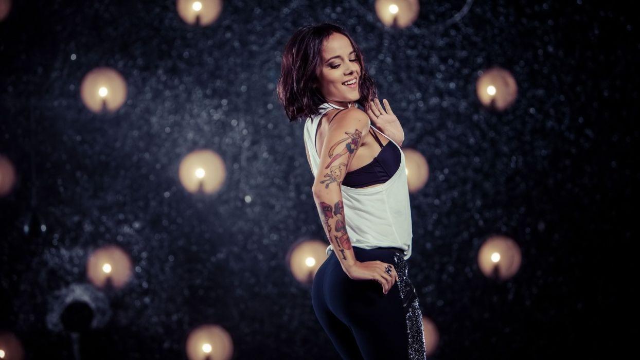 Sensuality sensual sexy girl woman model tattoo Alizee singer legging bra candle wallpaper