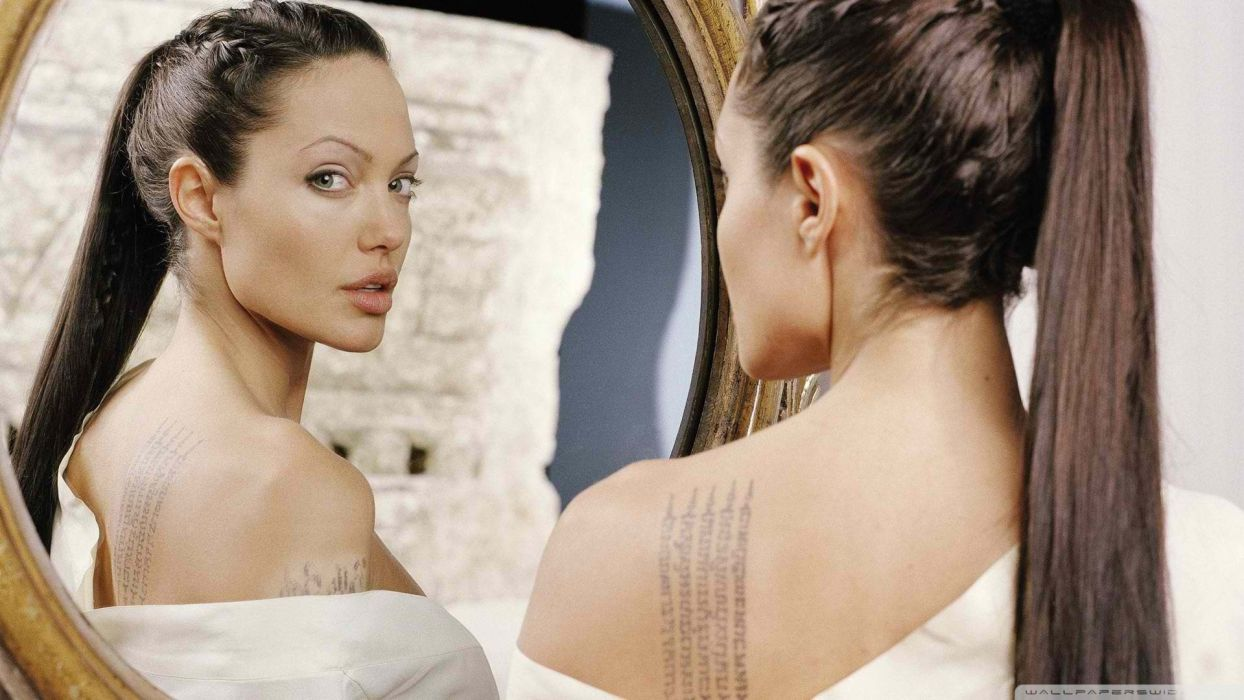 Sensuality sensual sexy girl woman model tattoo Angelina-Jolie face mirror actress shoulders lips wallpaper