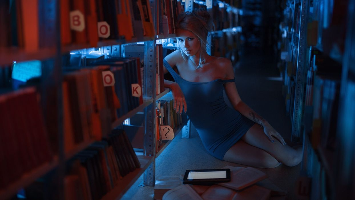 Sensuality sensual sexy girl woman model tattoo sitting minidress legs library bare-shoulders tablet books floor wallpaper