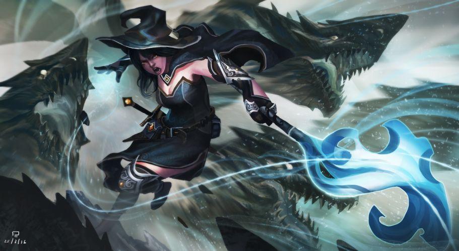 fantasy witch girl woman women female dark wallpaper
