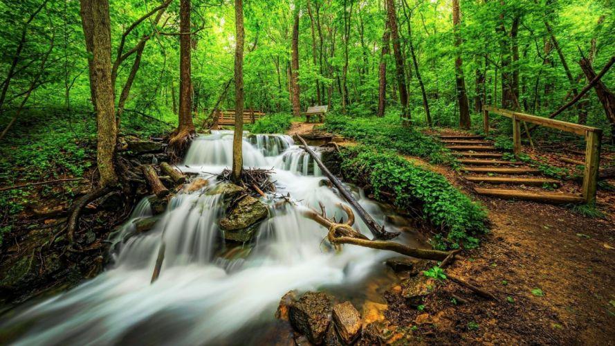 waterfall river landscape nature wallpaper