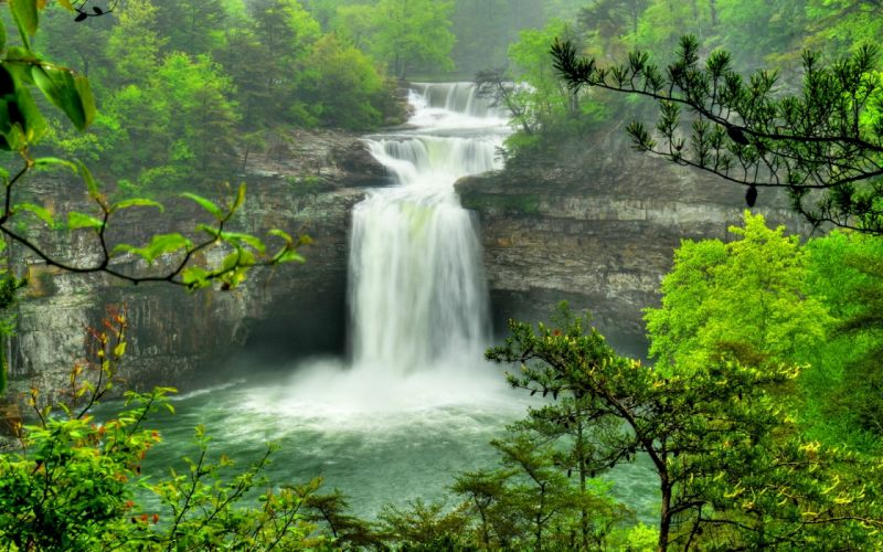 waterfall river landscape nature wallpaper