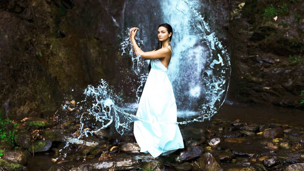 Photography sensuality sensual sexy girl woman model water wet nature waterfall rock splashes bare-shoulders wallpaper
