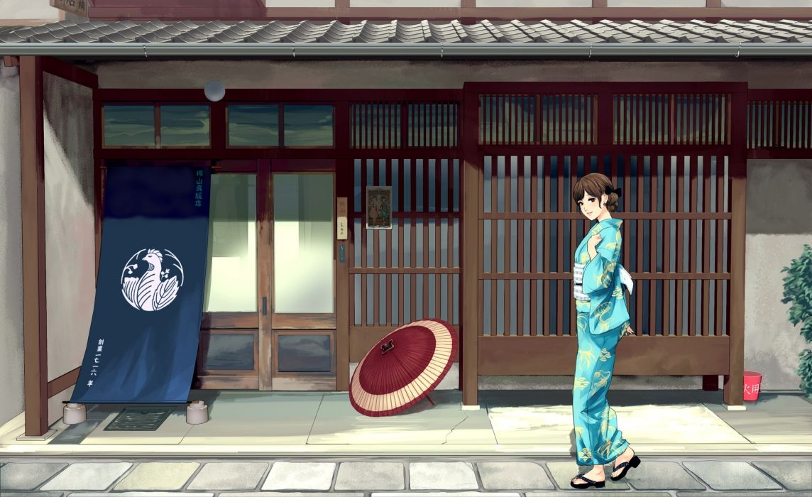 Konachan com - 251874 brown eyes brown hair building japanese clothes kimono munakata (hisahige) original scenic short hair umbrella wallpaper