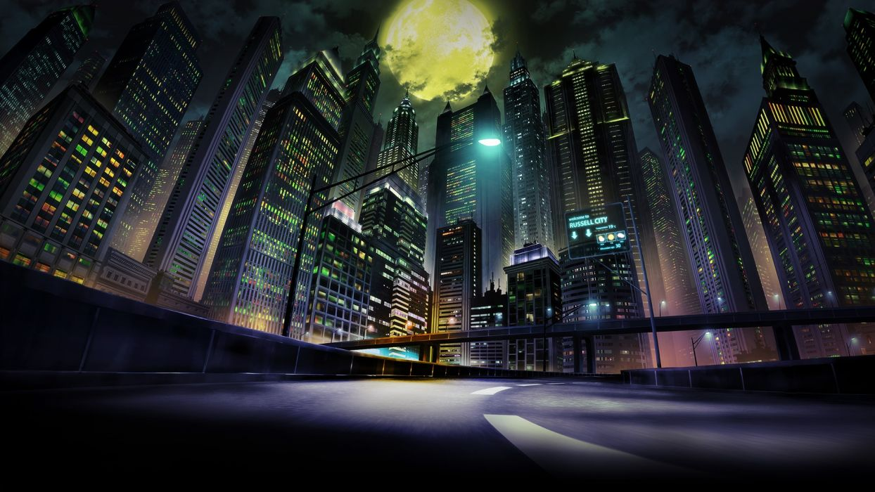 Konachan com - 251345 building city clouds garo- vanishing line moon night nobody scenic sky tagme (artist) wallpaper
