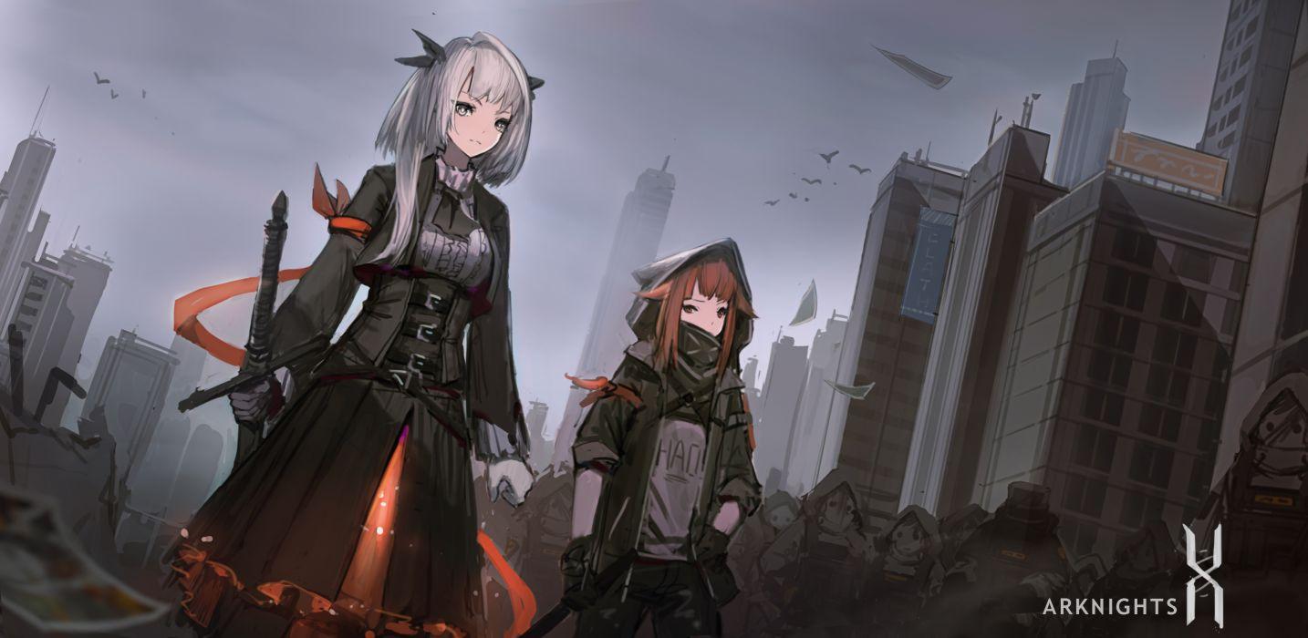 Konachan com - 251383 arknights building city gloves gray eyes gray hair heibaise jiangshi sword weapon wallpaper
