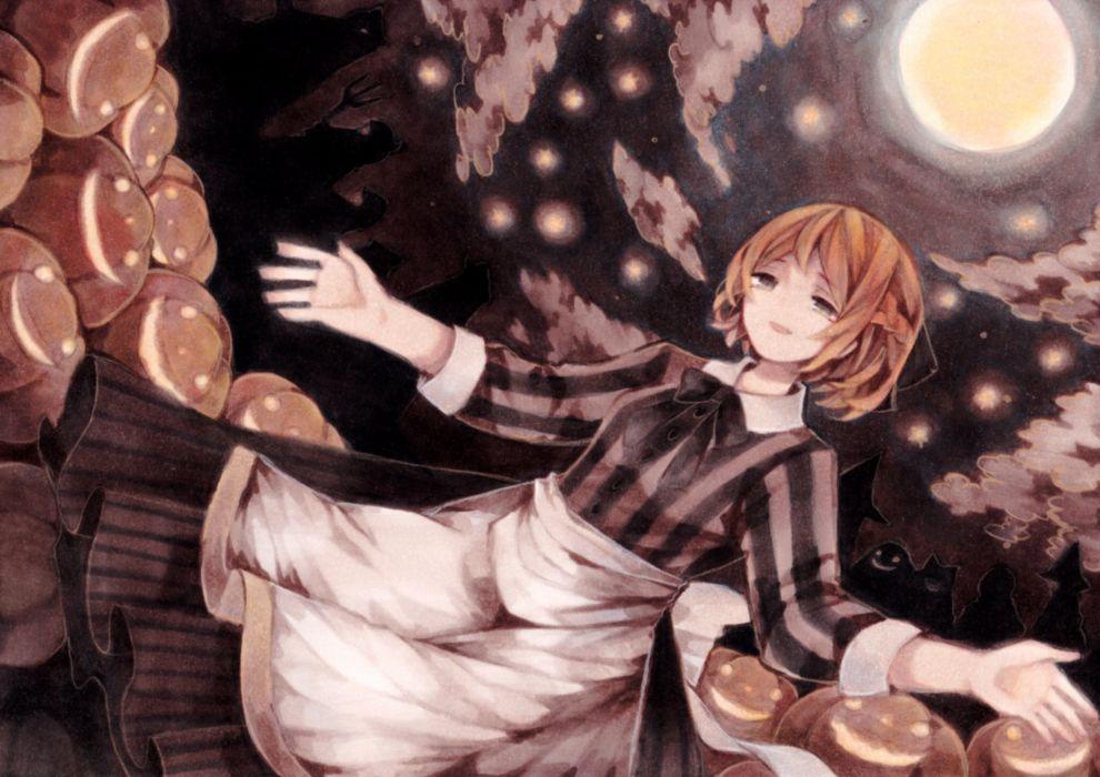 Konachan com - 251065 apron blonde hair bow clouds dress halloween katherine livermore moon night pumpkin short hair sound horizon stars wiriam07 wallpaper