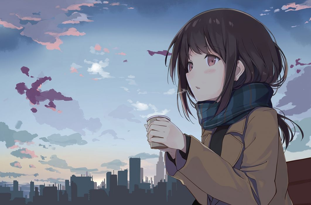 Konachan com - 251097 blush brown hair building city clouds drink long hair original red eyes scarf sky sutorora wallpaper