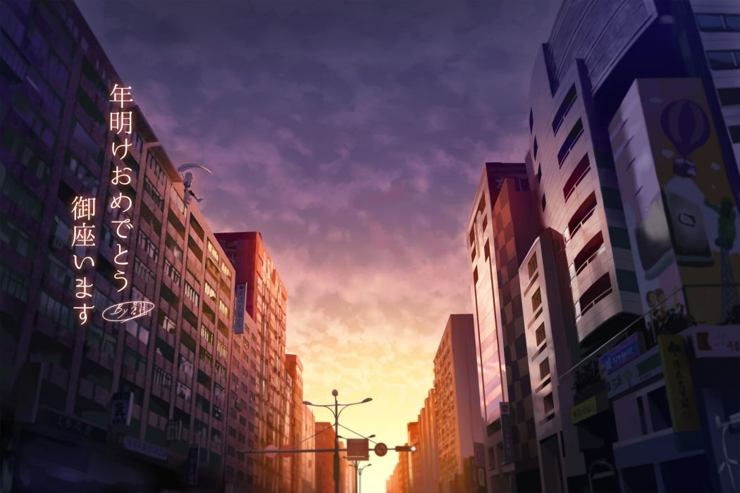 Konachan com - 251150 building city clouds original scenic scythe signed sky sunset tagme (artist) translation request weapon wallpaper