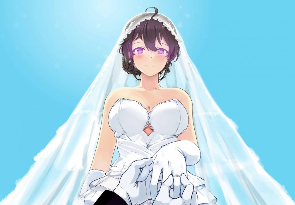 Konachan com - 250845 beifeng han black hair blush breasts cleavage cyan gloves miyaura sanshio original purple eyes wedding wedding attire wallpaper