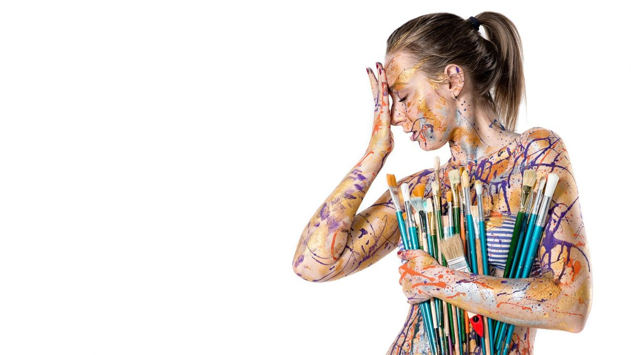 Art Sensuality Sensual Sexy Girl Woman Brush Colorful Body Paint Pavel Zubov Bottomless 500px Wallpaper 2048x1152 1107368 Wallpaperup