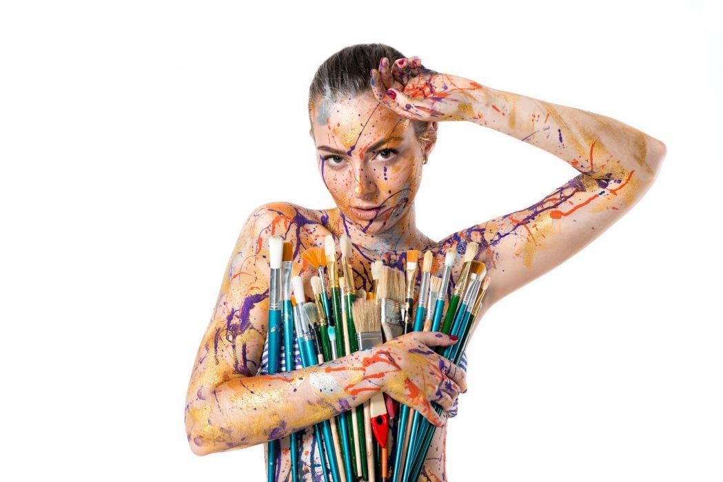 Art Sensuality Sensual Sexy Girl Woman Brush Colorful Body Paint Pavel Zubov Bottomless 500px Armpits Wallpaper 2048x1367 1107370 Wallpaperup
