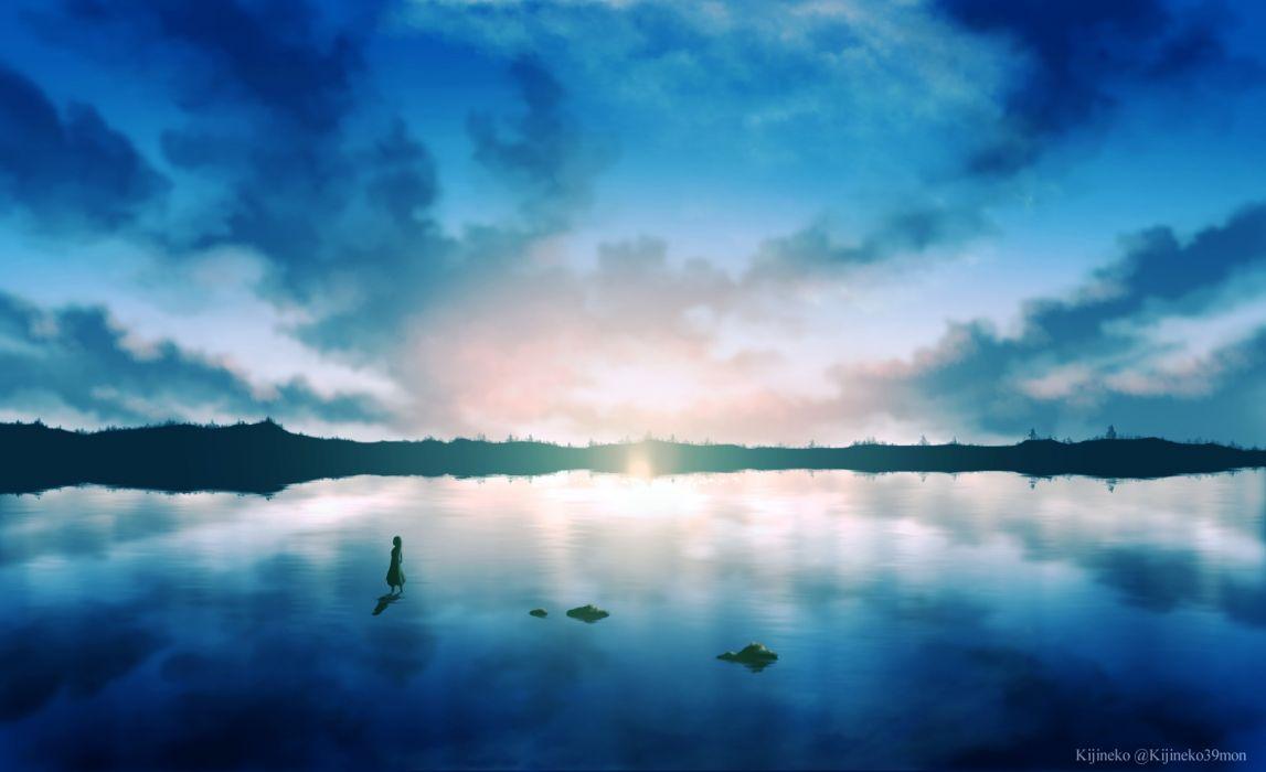 Konachan com - 250075 clouds kijineko original reflection scenic sky water watermark wallpaper