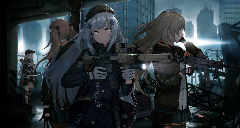 Konachan com - 250331 anthropomorphism cero (last2stage) g11 (girls frontline) girls frontline group gun hk416 (girls frontline) ump-9 (girls frontline) weapon wallpaper