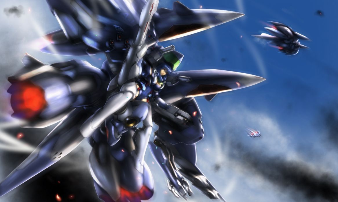 Konachan com - 250319 blue hair gundam x3 mecha mechagirl robot short hair sky wallpaper
