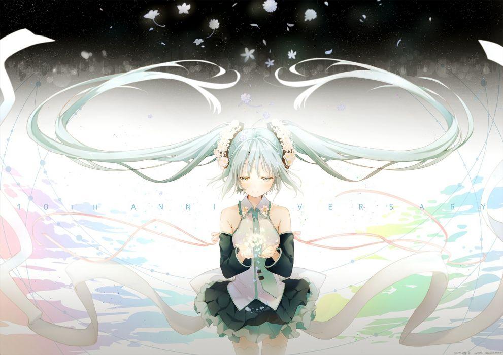 Konachan com - 249203 hatsune miku long hair skirt suzumori uina tie twintails vocaloid wallpaper