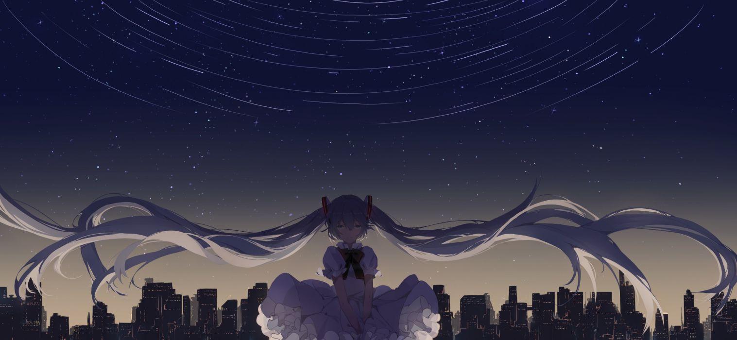 Konachan com - 249424 aqua- bow building city dress hatsune miku long hair stars twintails vocaloid wallpaper