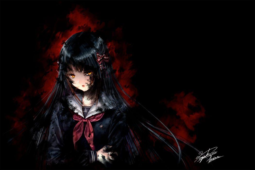 Konachan com - 249787 black hair bow dark kazuharu kina long hair orange eyes original seifuku signed wallpaper