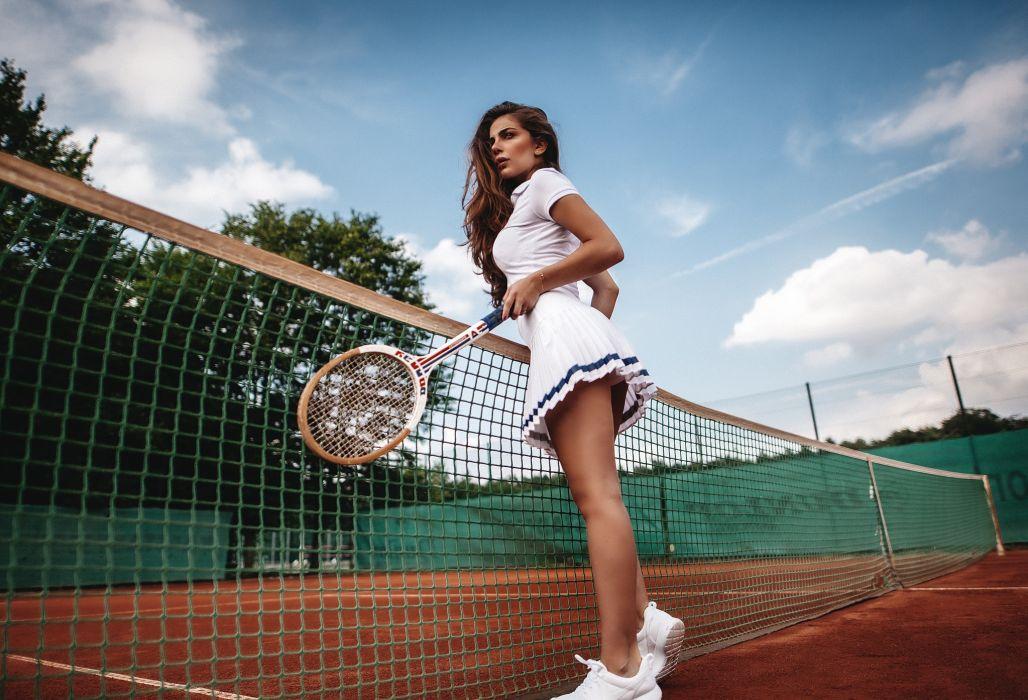 Sport sensuality sensual sexy girl woman exercise legs knees stretching sneakers sport-waer skirt tennis racket net wallpaper