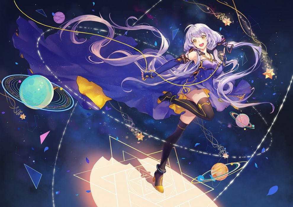 Konachan com - 248043 criin (659503) dress elbow gloves gloves gray hair long hair microphone thighhighs twintails vocaloid vocaloid china xingchen yellow eyes wallpaper