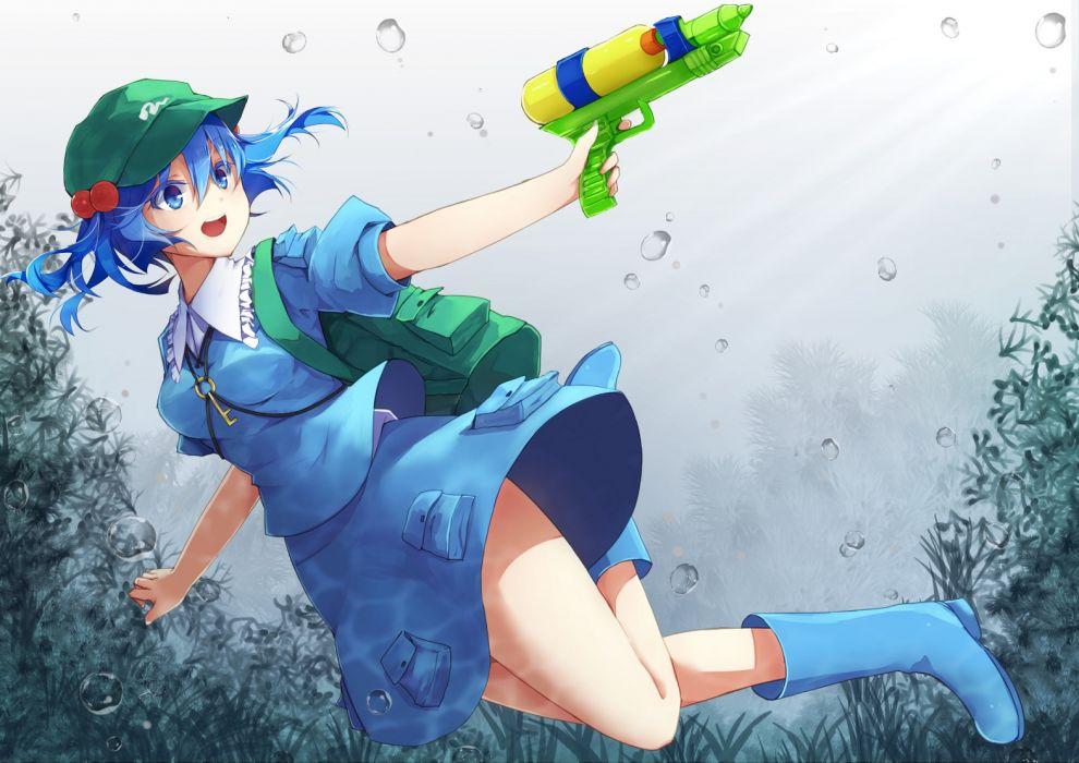 Konachan com - 248046 blue eyes blue hair boots bubbles furapechi gun hat kawashiro nitori short hair skirt touhou underwater water weapon wallpaper