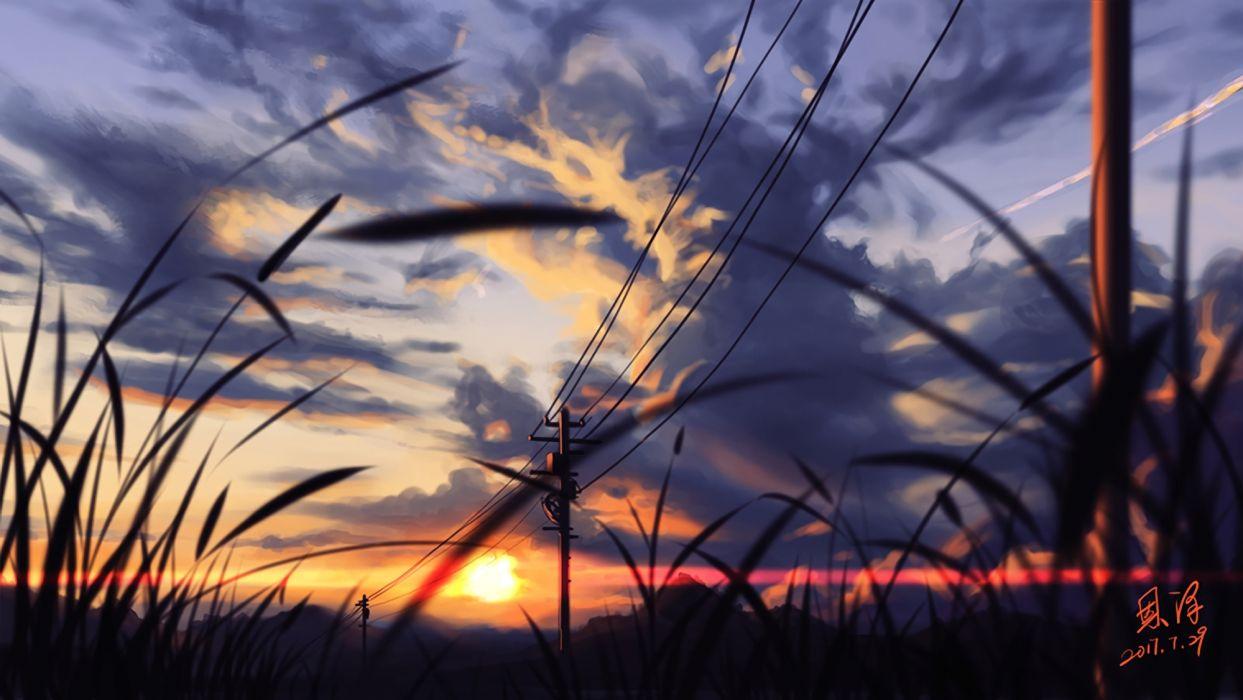 Konachan com - 247394 clouds nobody original scenic signed sky sunset waifu2x xiaobanbei milk wallpaper
