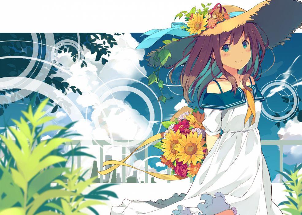 Konachan com - 247472 aqua eyes brown hair clouds dress flowers hat long hair original sutorora wallpaper