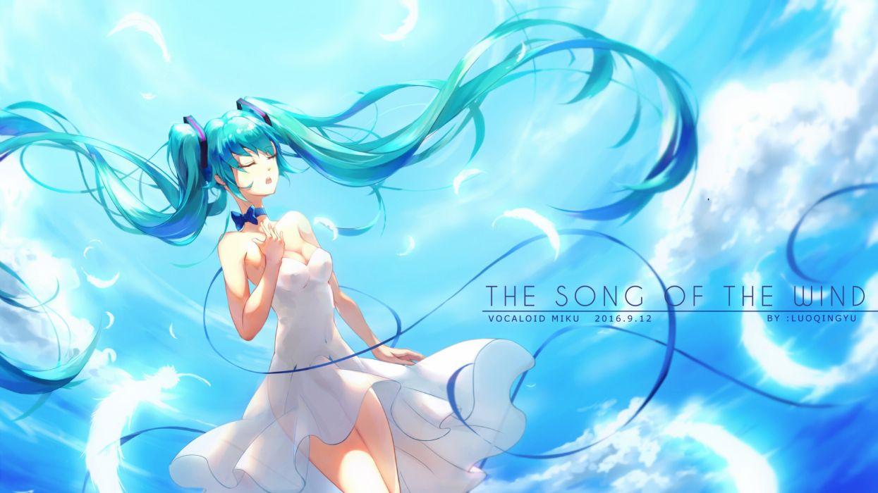 Konachan com - 247499 aqua hair dress hatsune miku long hair luo qingyu sky twintails vocaloid wallpaper