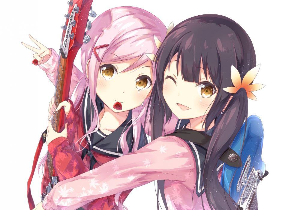 Konachan com - 247540 2girls black hair blush chamirai guitar instrument long hair pink hair seifuku white wink yellow eyes wallpaper
