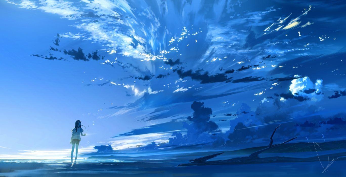 Konachan com - 247630 black hair blue clouds long hair loundraw original polychromatic scenic shorts signed sky wallpaper
