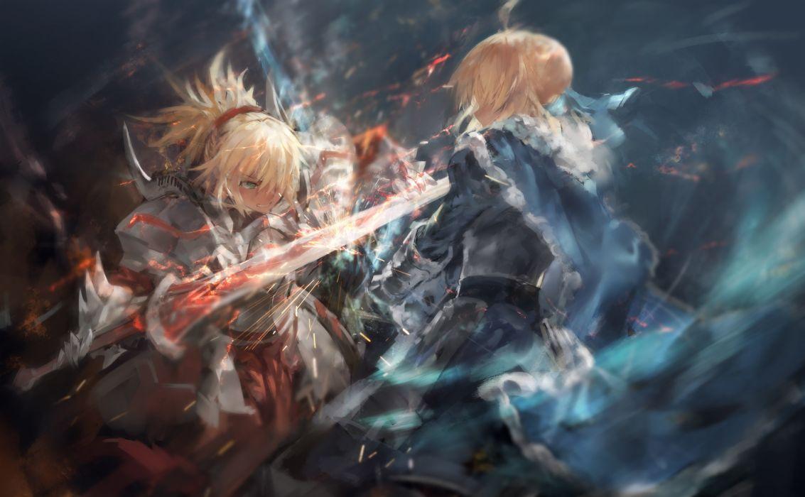 Konachan com - 247661 2girls armor avamone blonde hair cape fate grand order fate (series) green eyes mordred ponytail saber sword weapon wallpaper