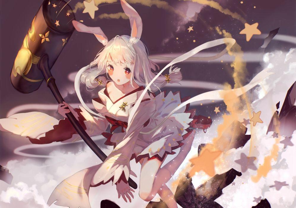 Konachan com - 247690 animal ears blush bou shaku bunnygirl gray hair japanese clothes kneehighs noah fantasy red eyes stars tagme (character) twintails wallpaper
