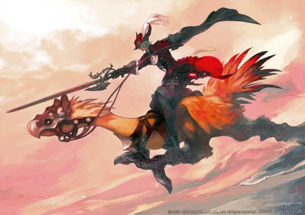 Konachan com - 247697 all male animal ears boots catboy chocobo final fantasy gloves gray hair hat male miqo'te red mage square enix sword tail watermark weapon wallpaper