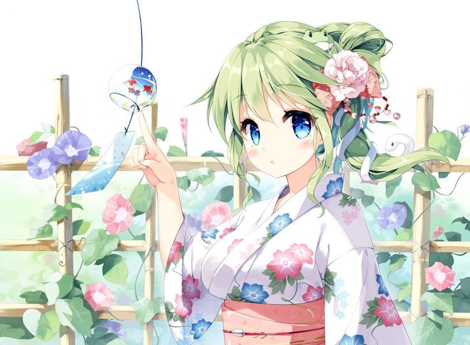 Konachan com - 247752 animal blue eyes blush flowers green hair japanese clothes kochiya sanae long hair miyase mahiro ponytail snake touhou waifu2x yukata wallpaper
