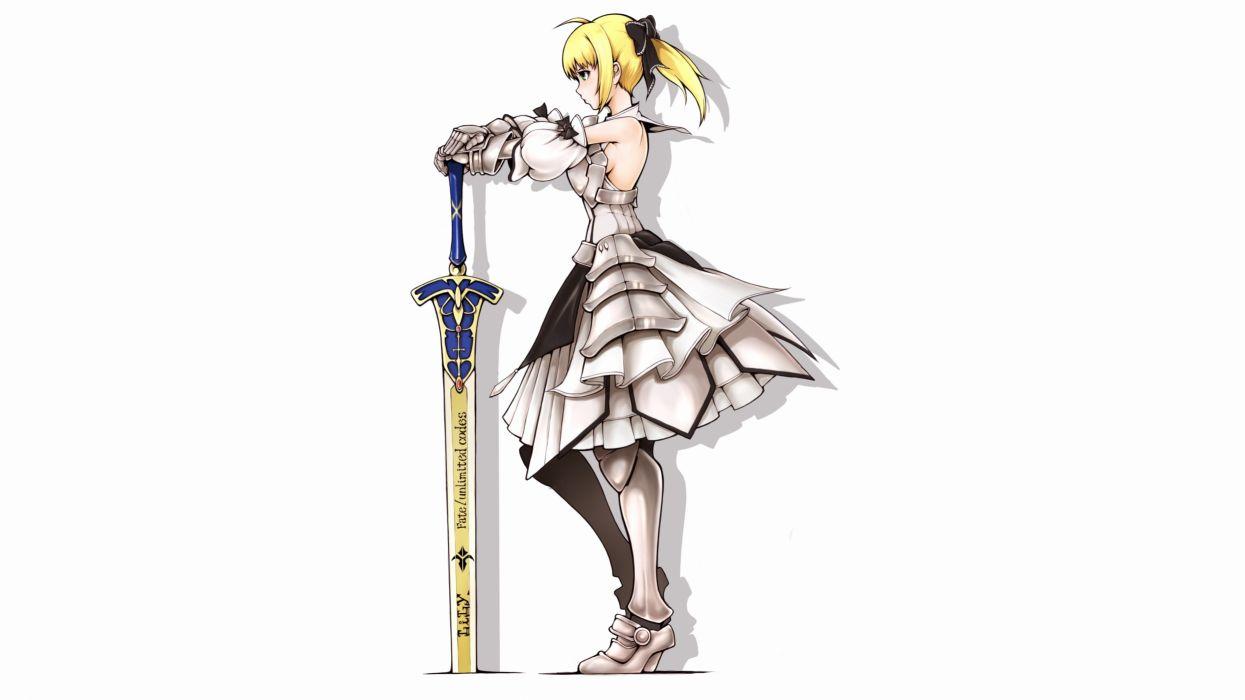 Konachan com - 247789 armor blonde hair bow fate (series) gloves green eyes ina (gokihoihoi) long hair ponytail saber saber lily sideboob sword weapon white wallpaper
