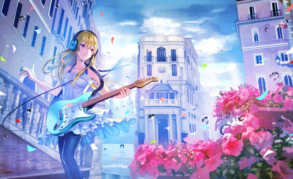 Konachan com - 247768 blonde hair bubbles building city clouds dress flowers guitar headphones instrument long hair original pink eyes sky tagme (artist) thighhighs wallpaper