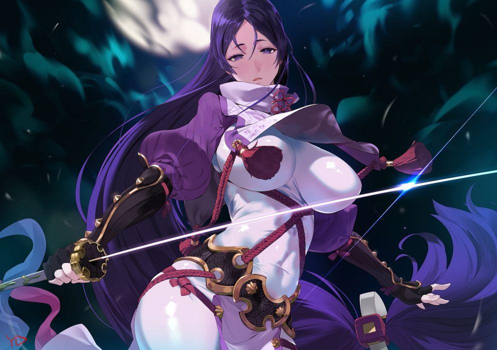 Konachan com - 247790 bodysuit breasts elbow gloves fate (series) gloves katana long hair moon purple eyes purple hair rope signed skintight sword weapon yang-do wallpaper