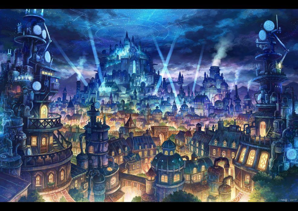 Konachan com - 247792 building city clouds kemi neko magic night nobody original signed sky stairs stars wallpaper
