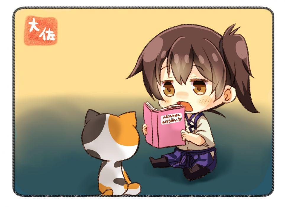 Konachan com - 247815 animal anthropomorphism blush book brown eyes brown hair cat chibi japanese clothes kaga (kancolle) kantai collection short hair taisa (kari) wallpaper