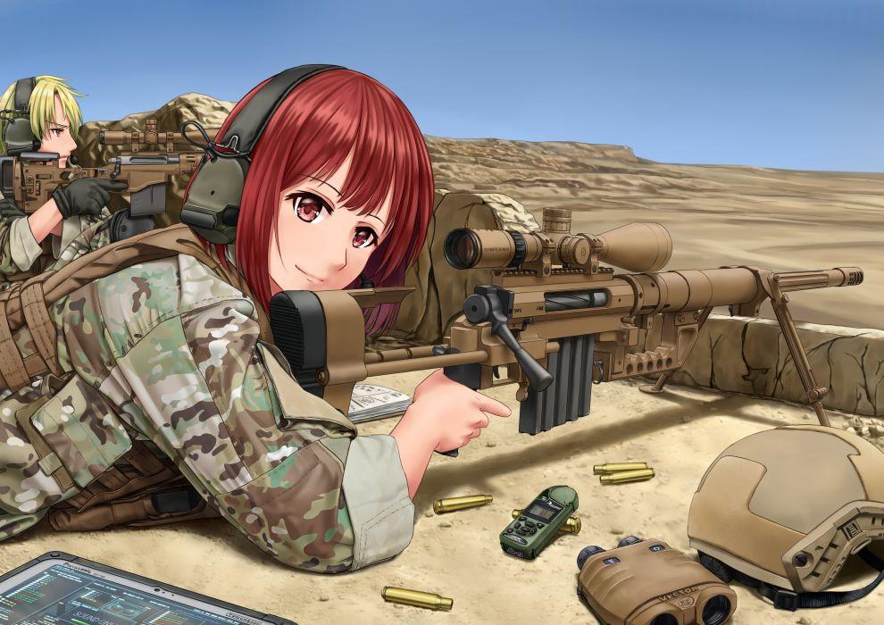 Konachan com - 247829 blonde hair gun jpc male military red hair tagme uniform weapon wallpaper