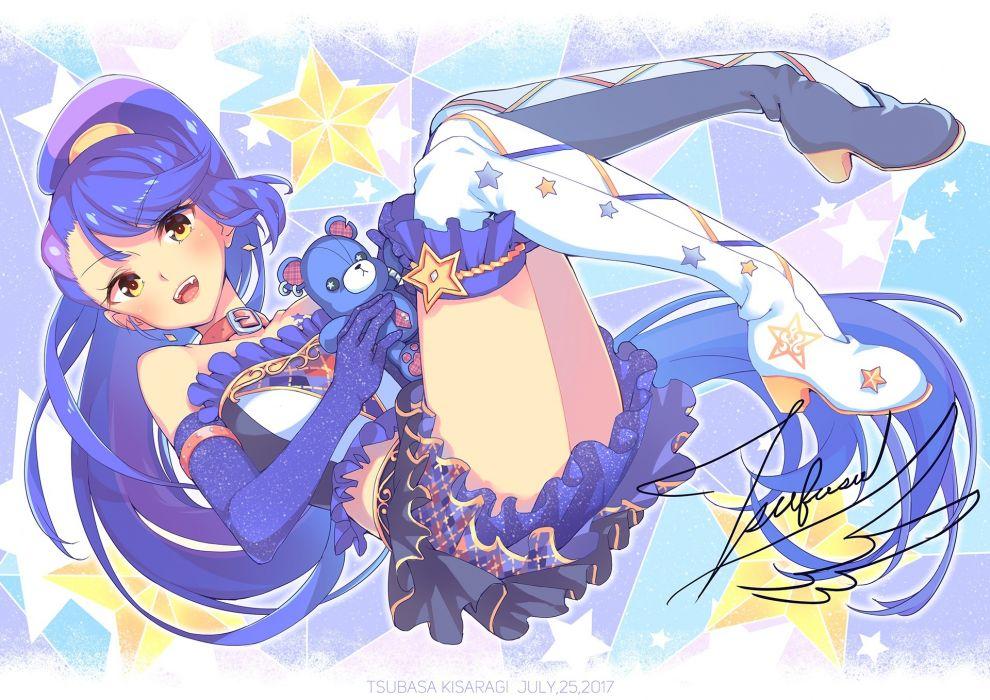 Konachan com - 247243 aikatsu! blue hair blush boots bouzu (bonze) collar elbow gloves fang gloves kisaragi tsubasa long hair ponytail signed skirt yellow eyes wallpaper